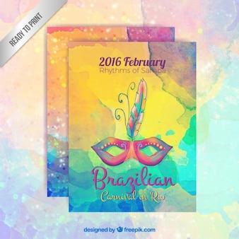 Poster colorido do carnaval brasileiro no estilo pintados à mão