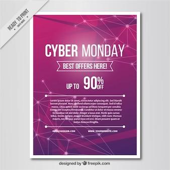 Poster Cyber segunda-feira com fundo roxo abstrato
