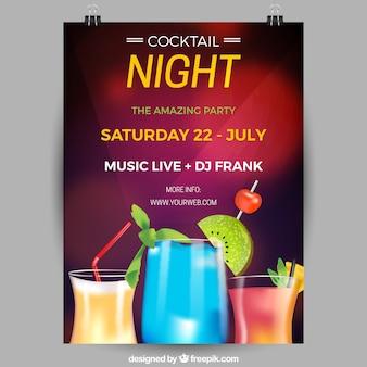 Poster da festa com cocktails