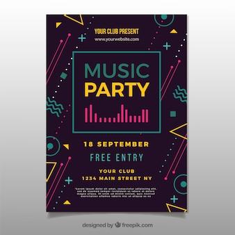 Poster de festa robótica com estilo moderno