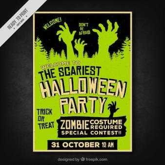 Poster de Halloween com as mãos assustadores no estilo retro