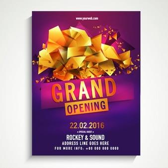 Poster de inauguração com formas geométricas douradas