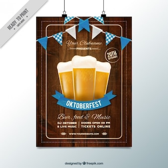 Poster de madeira para o festival Oktoberfest