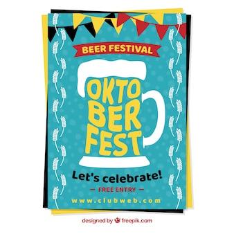 Poster de Oktoberfest com uma caneca de cerveja