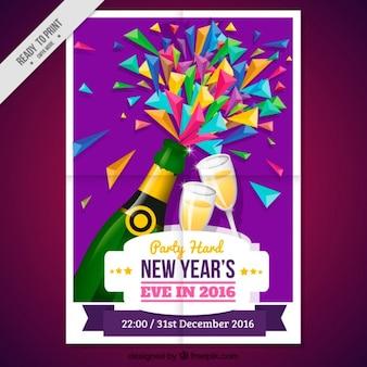Poster do ano novo colorido com champanhe