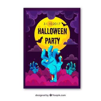 Poster do Dia das Bruxas com mãos de zumbi