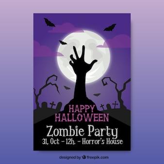 Poster do Dia das Bruxas com uma silhueta de uma mão zombie