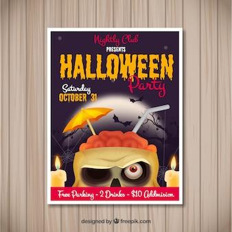Poster do Dia das Bruxas com zombi engraçado