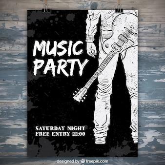 Poster do partido da aguarela com o guitarrista mão desenhada