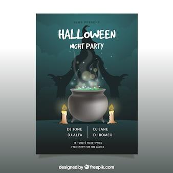 Poster do partido de Halloween com caldeirão