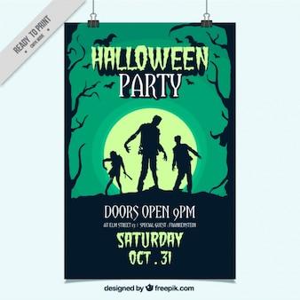 Poster do partido desenhada à mão para Halloween