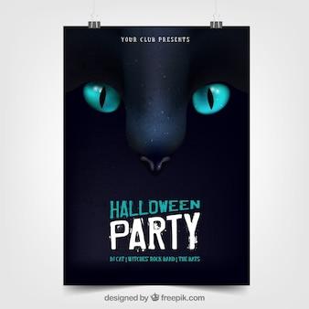 Poster do partido do Dia das Bruxas com gato preto