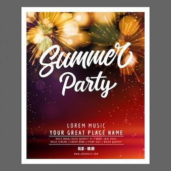 Poster do partido do verão com formas brilhantes