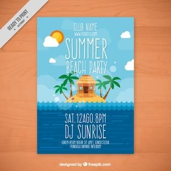 Poster do partido do verão em uma ilha
