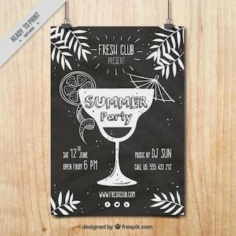 poster do partido do vintage com um cocktail desenhado à mão