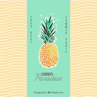 Poster do verão com um abacaxi