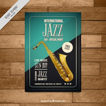 Poster elegante evento jazz do vintage