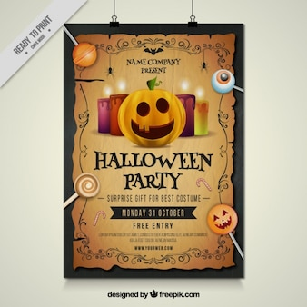 Poster festa de Halloween com abóbora e pirulitos