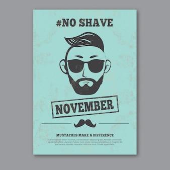 Poster movember azul no estilo do vintage
