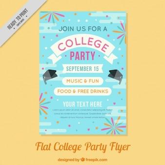Poster plana para uma festa de faculdade