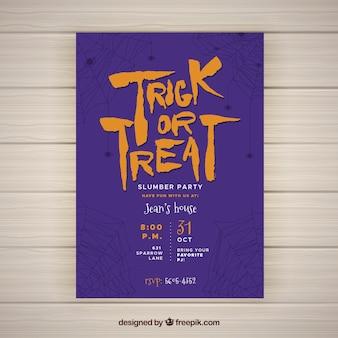 Poster roxo do partido do Dia das Bruxas