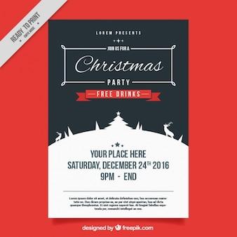 Poster vintage de festa de natal