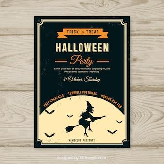 Poster vintage do partido do Dia das Bruxas com bruxa e lua