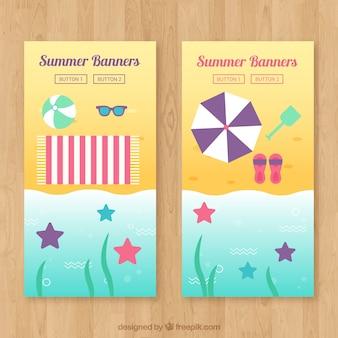 Praia, bandeiras, starfish, verão, objetos