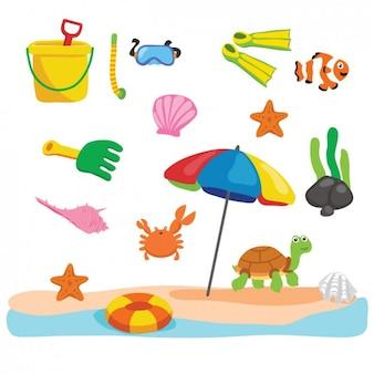 Praia com diferentes elementos de verão