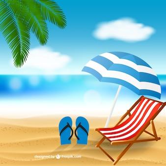 Praia com uma cadeira de praia