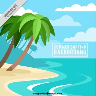 Praia do verão com palmeiras