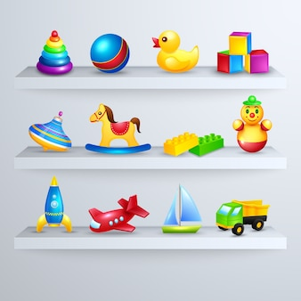 Prateleira de ícones de brinquedos