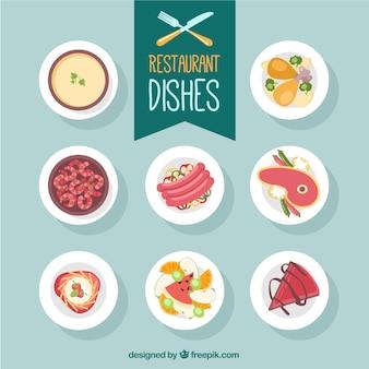 pratos de restaurante em design plano