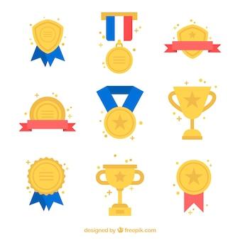 Prêmios dourados ajustados com detalhes cores