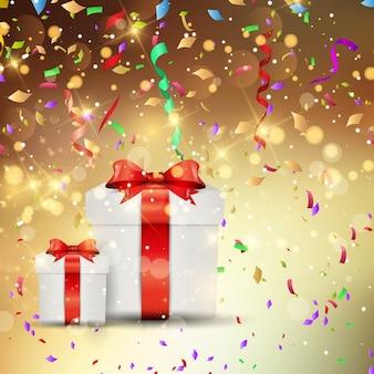 Presente de Natal de fundo wth confetes e serpentinas