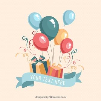 Presentes e balões de aniversário
