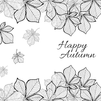 Preto e branco Line Art Autumn Backgrounds
