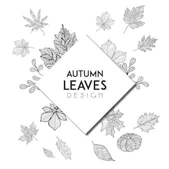 Preto e branco Line Art Autumn Backgrounds