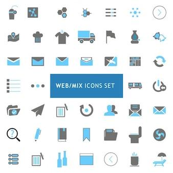 Preto e cinza ícones Mix Web ajustados