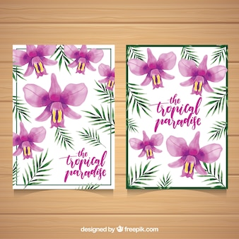 Pretty tropical watercolor flowers cards