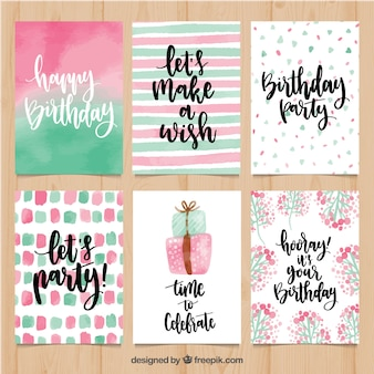 Pretty watercolor birthday greetings set