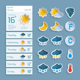 Previsão prolongada do tempo, papel de computador, widgets decorativos com nuvens de sol, chuva e ícones de neve, ilustração vetorial