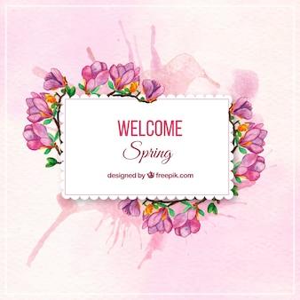 Primavera etiqueta da flor da aguarela