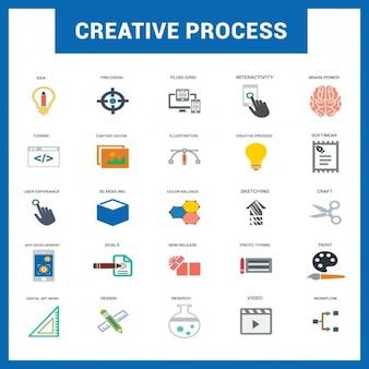Processo Criativo Plano Icons Set