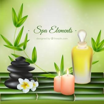 Produtos de beleza realistas de spa com decoração natureza