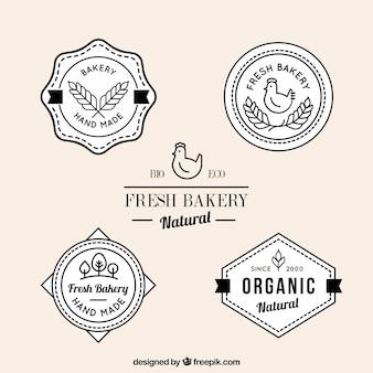 Produtos de padaria frescos emblemas