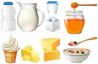 Produtos lácteos preparados com leite e ilustração de mel