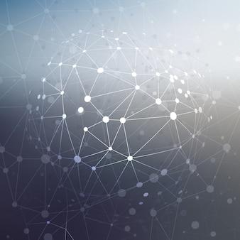 Projeto abstrato baixo do poli com pontos de conexão