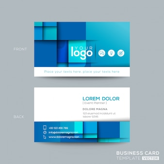 Projeto azul limpo e simples do namecard do cartão de visita