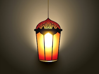 Projeto brilhante da lâmpada islâmica do vetor